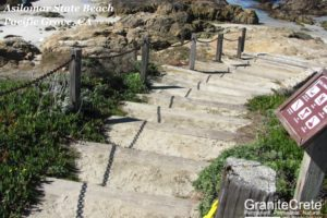 GraniteCrete steps covered in sand at Asilomar State Beach in Pacific Grove.