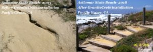A comparison showing Asilomar State beach before and after GraniteCrete installation.