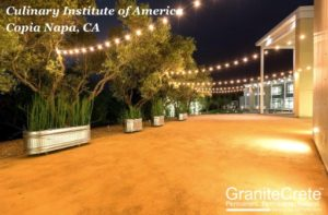 GraniteCrete permeable paving patio at the Culinary Institute of America at Copia Napa.
