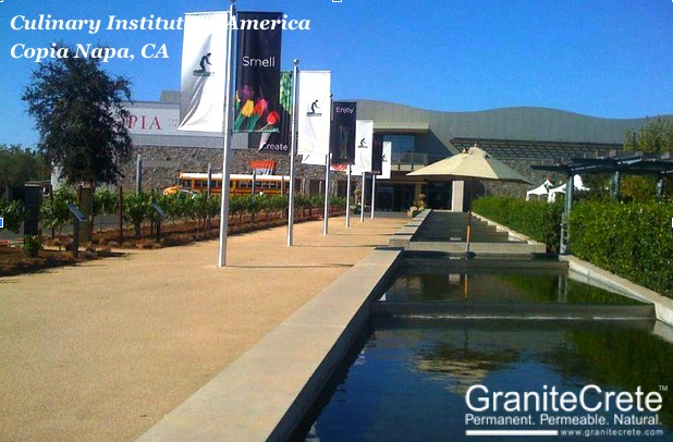 GraniteCrete permeable paving pathway at the Culinary Institute of America at Copia Napa.