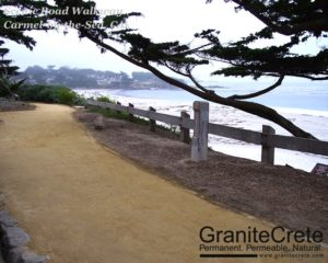 GraniteCrete permeable paving pathway at the Scenic Road Walkway in Carmel.