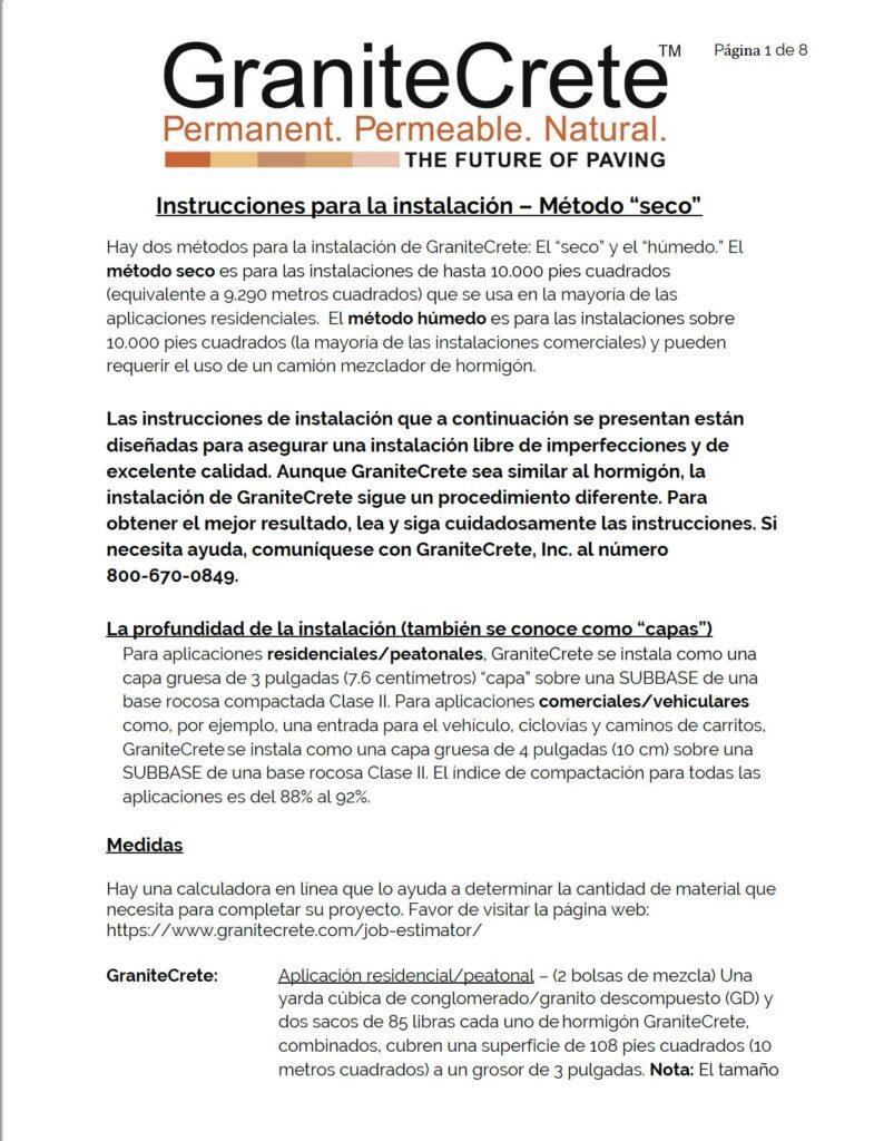 GraniteCrete-Installation-Instructions-_Dry_-Method-SPANISH