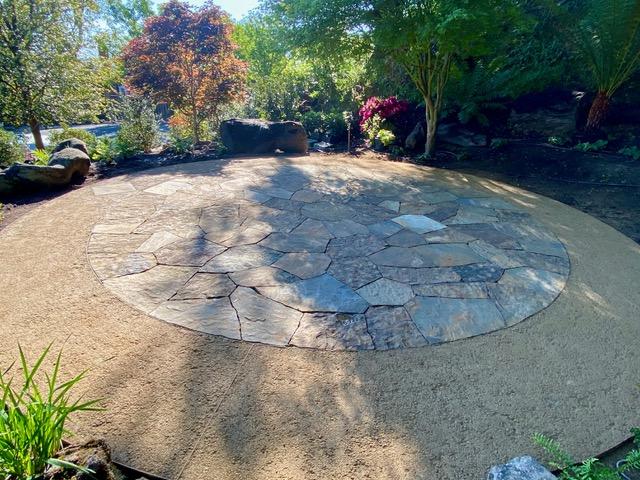 GraniteCrete permeable paving inlaid with stones