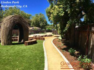 GraniteCrete permeable paving pathway at Linden Park in Redwood City.