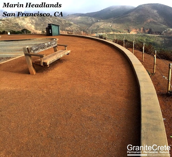 Sitting area at the Marin Headlands outlook in San Francisco.