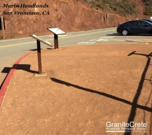GraniteCrete permeable paving installation at the Marin Headlands in San Francisco on a sunny day.