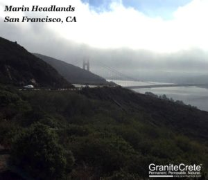 Distant view of Marin Headlands installation