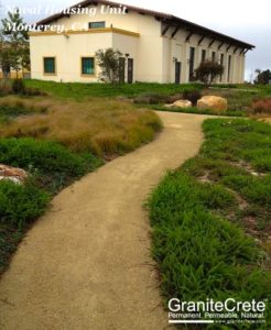 GraniteCrete permeable paving pathway outside a Naval housing unit in Monterey.