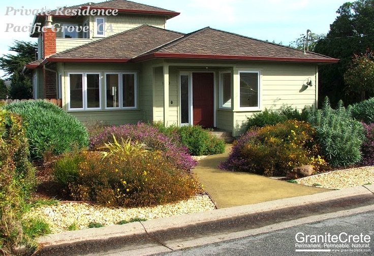 A GraniteCrete permeable paving pathway at the entrance to a residence in Pacific Grove.