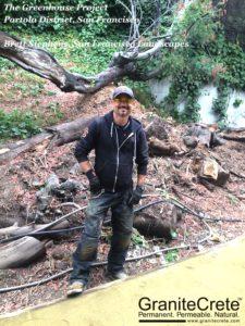 GraniteCrete installer Brett Stephens posing with pathway in San Francisco.
