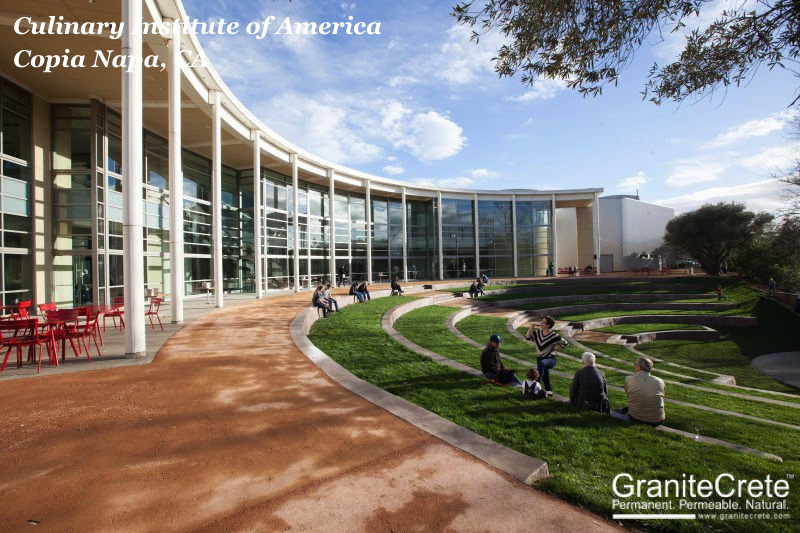 GraniteCrete permeable paving patio Culinary Institute America Copia Napa