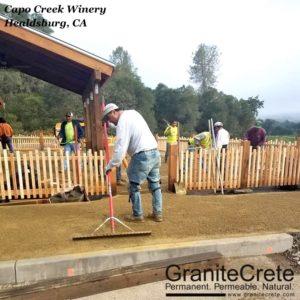 GraniteCrete permeable paving Installation in Progress at Capo Creek Winery