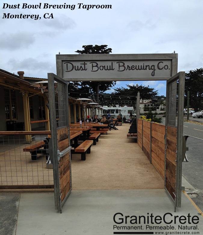 The entrance to Dust Bowl Brewing Co Taproom in Monterey with GraniteCrete patio.