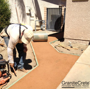 GraniteCrete permeable paving pathway installation in progress.