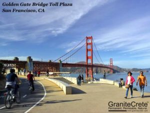 GraniteCrete permeable paving installation at Golden Gate Bridge Toll Plaza.