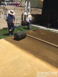 GraniteCrete permeable paving installation in progress at a home in San Francisco.