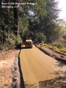 GraniteCrete permeable pavement installation at Bear Creek Redwood Preserve