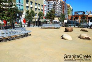 GraniteCrete permeable paving dog park at Christie Park in Emeryville.