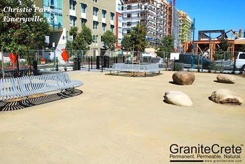 GraniteCrete permeable paving material at the dog park section of Christie Park in Emeryville.