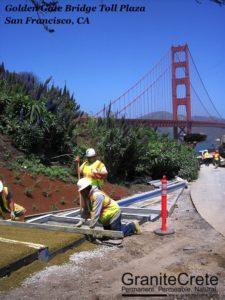 GraniteCrete permeable paving Steps at Golden Gate Bridge in progress.