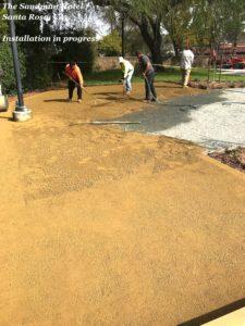 GraniteCrete permeable paving patio installation in progress at the Sandman Hotel in Santa Rosa.