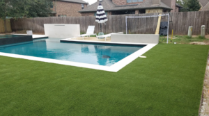 Permeable grass and pool