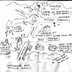 Original drawing of Mia's Playground on a napkin.