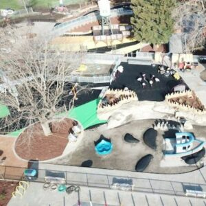 Aerial photo of Mia's Playground in the process of being built.